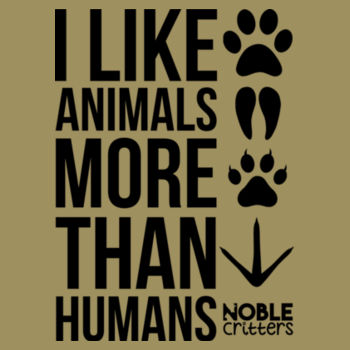 I LIKE ANIMALS MORE THAN HUMANS - PREMIUM WOMEN'S FITTED S/S TEE - LIGHT OLIVE Design