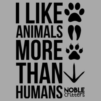 I LIKE ANIMALS MORE THAN HUMANS - PREMIUM UNISEX S/S TEE - LIGHT GRAY HEATHER Design