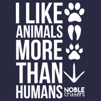 I LIKE ANIMALS MORE THAN HUMANS - PREMIUM UNISEX S/S TEE - MIDNIGHT NAVY Design