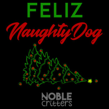 FELIZ NAUGHTY DOG - PREMIUM WOMEN'S FITTED S/S VNECK TEE - BLACK Design