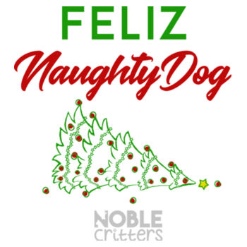 FELIZ NAUGHTY DOG - PREMIUM WOMEN'S FITTED S/S VNECK TEE - WHITE Design