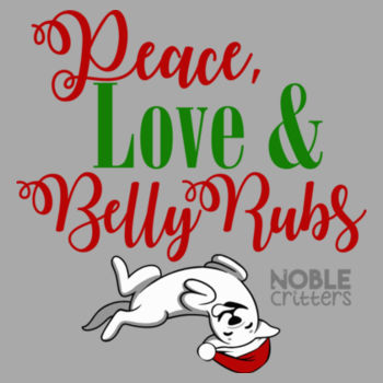 PEACE, LOVE AND BELLY RUBS - PREMIUM UNISEX PULLOVER HOODIE - LIGHT GRAY HEATHER Design