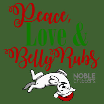 PEACE, LOVE AND BELLY RUBS - PREMIUM UNISEX PULLOVER HOODIE - ALPINE GREEN Design