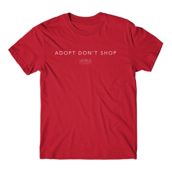 ADOPT DON'T SHOP - PREMIUM UNISEX S/S TEE - RED Thumbnail