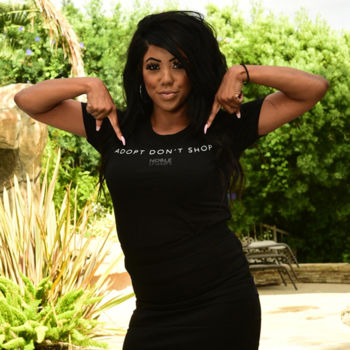ADOPT DON'T SHOP - PREMIUM WOMEN'S FITTED S/S TEE - BLACK Thumbnail