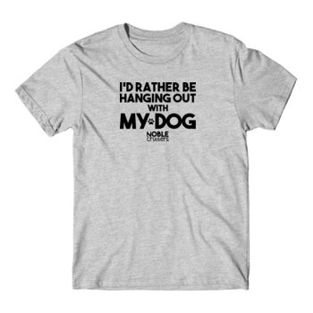 I'D RATHER BE HANGING WITH MY DOG - PREMIUM UNISEX S/S TEE - LIGHT GRAY HEATHER Thumbnail