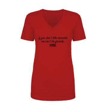 WE CAN'T BE FRIENDS - PREMIUM WOMEN'S FITTED S/S V-NECK TEE - RED Thumbnail
