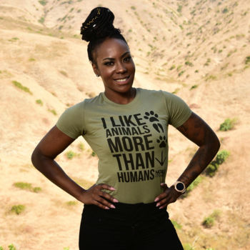 I LIKE ANIMALS MORE THAN HUMANS - PREMIUM WOMEN'S FITTED S/S TEE - LIGHT OLIVE Thumbnail
