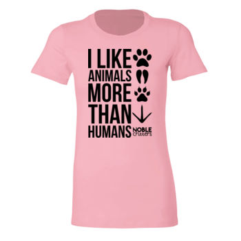 I LIKE ANIMALS MORE THAN HUMANS - PREMIUM WOMEN'S FITTED S/S TEE - LIGHT PINK Thumbnail