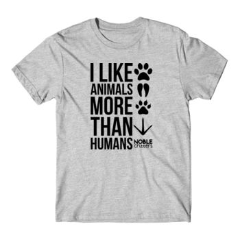 I LIKE ANIMALS MORE THAN HUMANS - PREMIUM UNISEX S/S TEE - LIGHT GRAY HEATHER Thumbnail