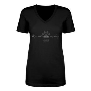 MY CAT MAKES MY DAY - WOMEN'S PREMIUM FITTED S/S V-NECK TEE - BLACK Thumbnail