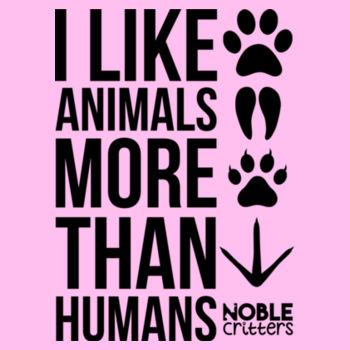 I LIKE ANIMALS MORE THAN HUMANS - PREMIUM WOMEN'S FITTED S/S TEE - LIGHT PINK Design