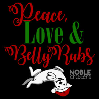 PEACE, LOVE AND BELLY RUBS - PREMIUM UNISEX S/S TEE - BLACK Design