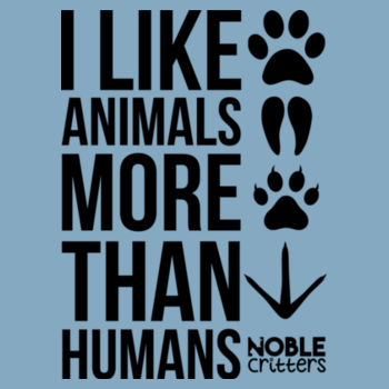 I LIKE ANIMALS MORE THAN HUMANS - BABY PREMIUM ONESIE - LIGHT BLUE Design